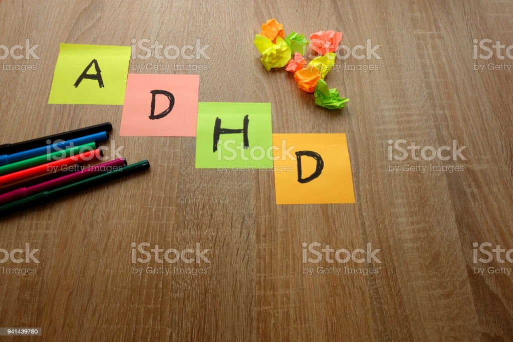 ADHD written on multicolored sheets of paper stock photo