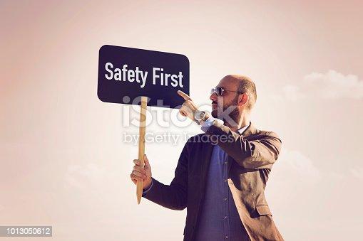 istock SAFETY FIRST written on small blackboard. 1013050612