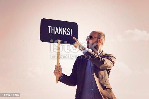 istock THANKS written on small blackboard. 962692656