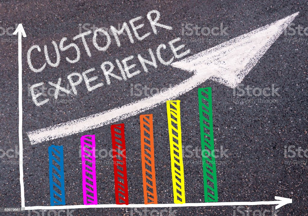 CUSTOMER EXPERIENCE written over colorful graph and rising arrow stock photo