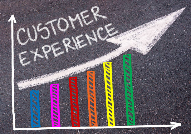 CUSTOMER EXPERIENCE written over colorful graph and rising arrow - foto de stock