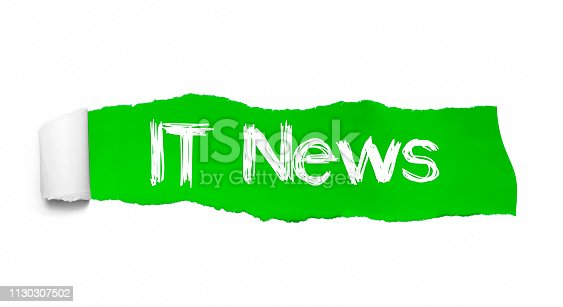 1132886484 istock photo IT NEWS written under the curled piece of Green torn paper 1130307502