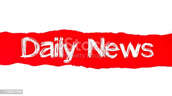 472273278 istock photo DAILY NEWS written under the curled piece of Red torn paper 1130307506