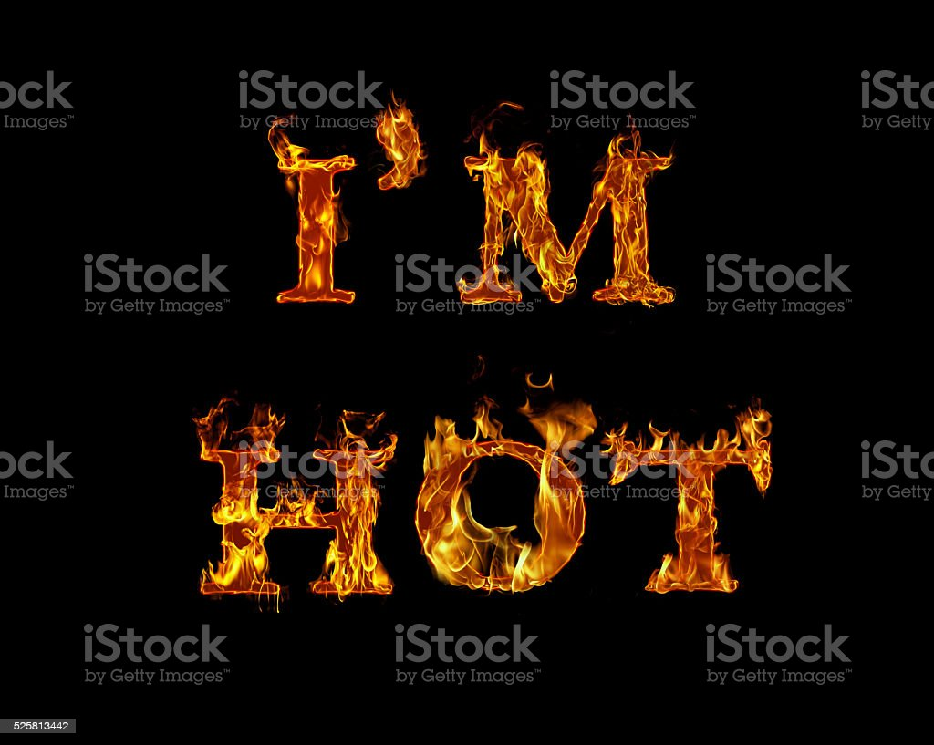 Inferno Em Chamas Minimalist estou quente escrito com queima de letras em chamas - stock foto