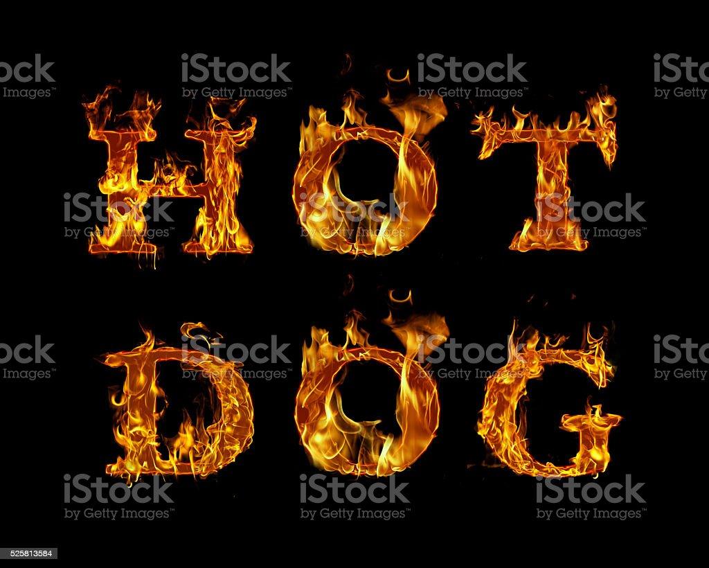 Inferno Em Chamas Amazing cachorroquente escrito com queima de letras em chamas - imagens de