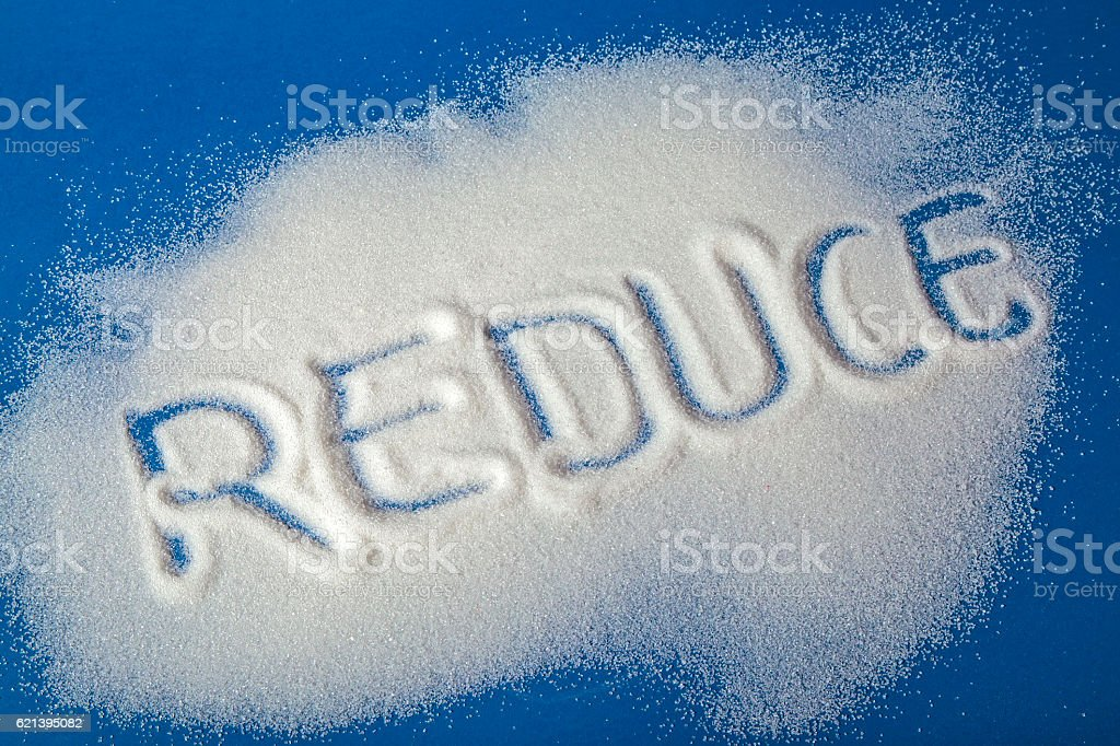 REDUCE written with sugar royalty-free stock photo