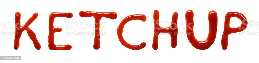 KETCHUP written with tomato sauce stock photo