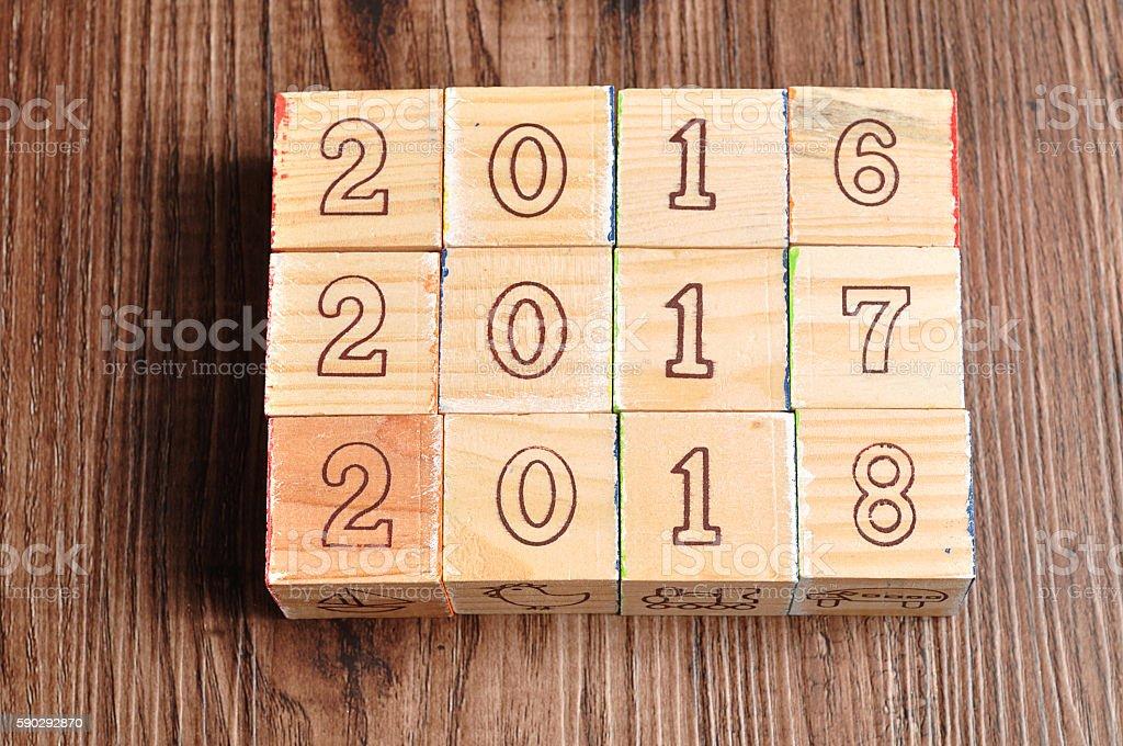 2016 2017 2018 written with wooden blocks royaltyfri bildbanksbilder
