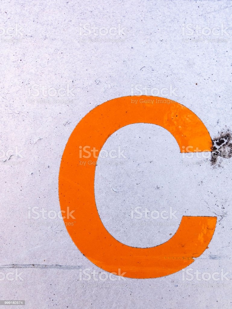 Written Wording in Distressed State Typography Found Letter C stock photo
