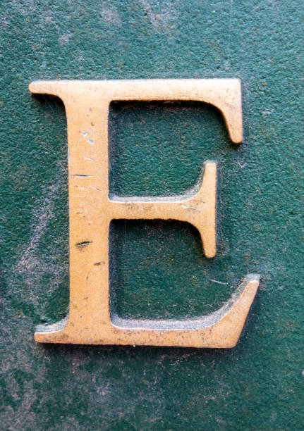 Written Wording in Distressed State Typography Found Letter E stock photo