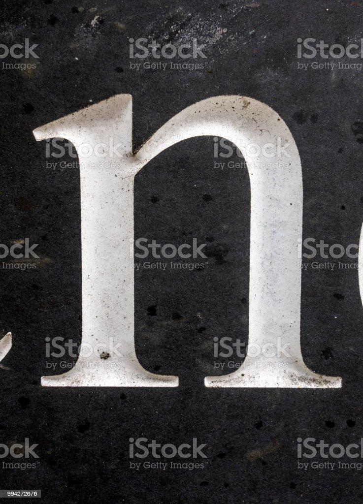 Written Wording in Distressed State Typography Found Letter N stock photo