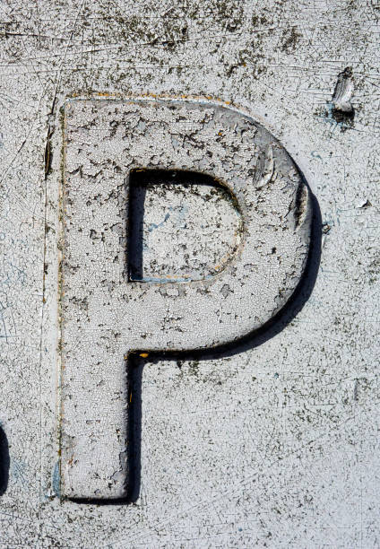 Written Wording in Distressed State Typography Found Letter P stock photo