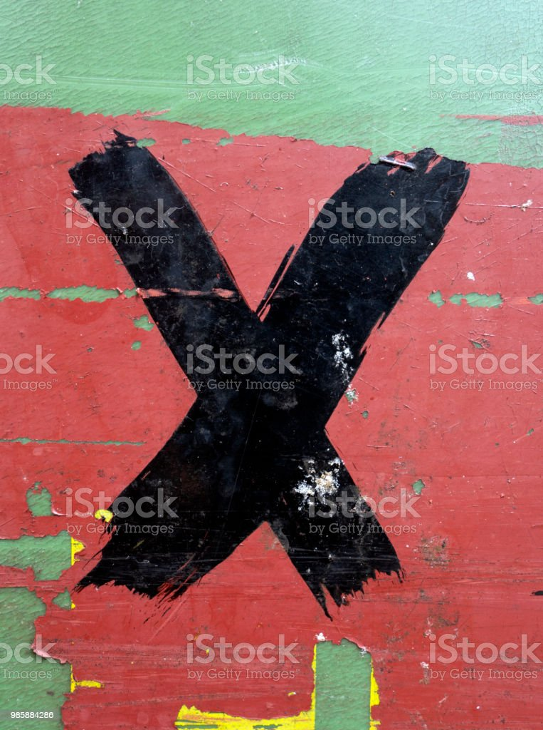 Written Wording in Distressed State Typography Found Letter X stock photo