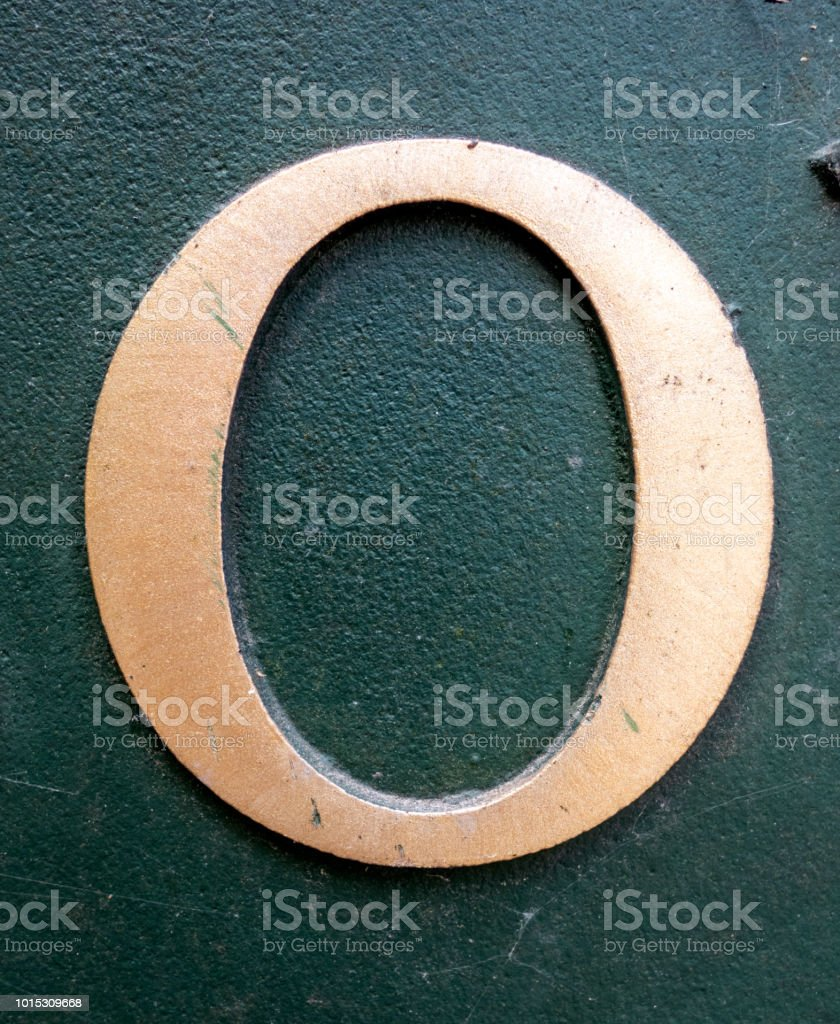 Written Wording in Distressed State Typography Found Number 0 O Zero stock photo