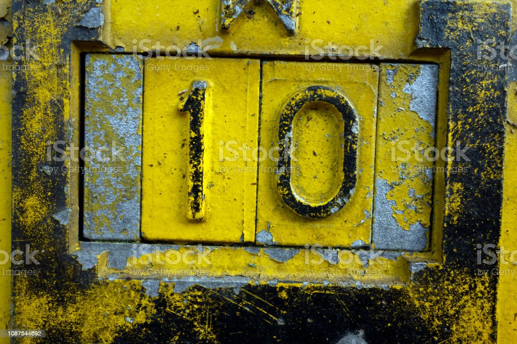 Written Wording in Distressed State Typography Found Number 10 stock photo