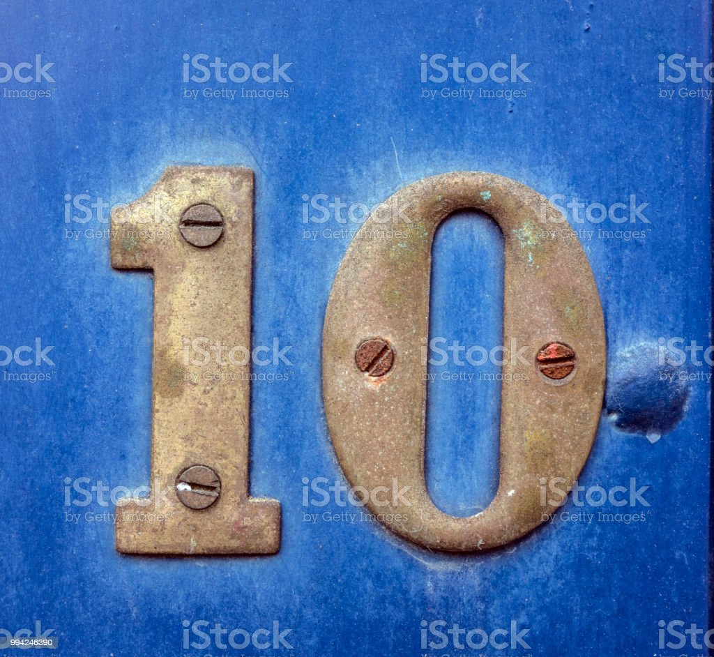 Written Wording in Distressed State Typography Found Number 10 Ten stock photo