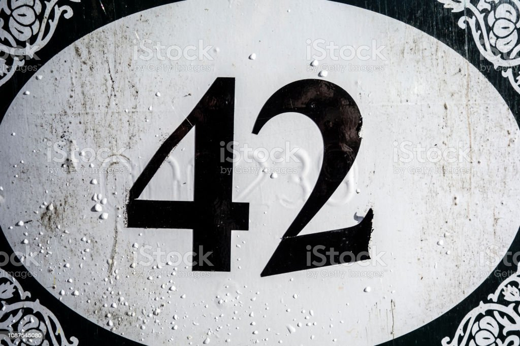 Written Wording in Distressed State Typography Found Number Forty Two stock photo