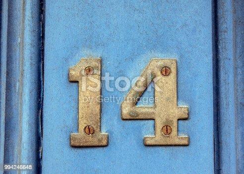 istock Written Wording in Distressed State Typography Found Number Fourteen 14 994246648