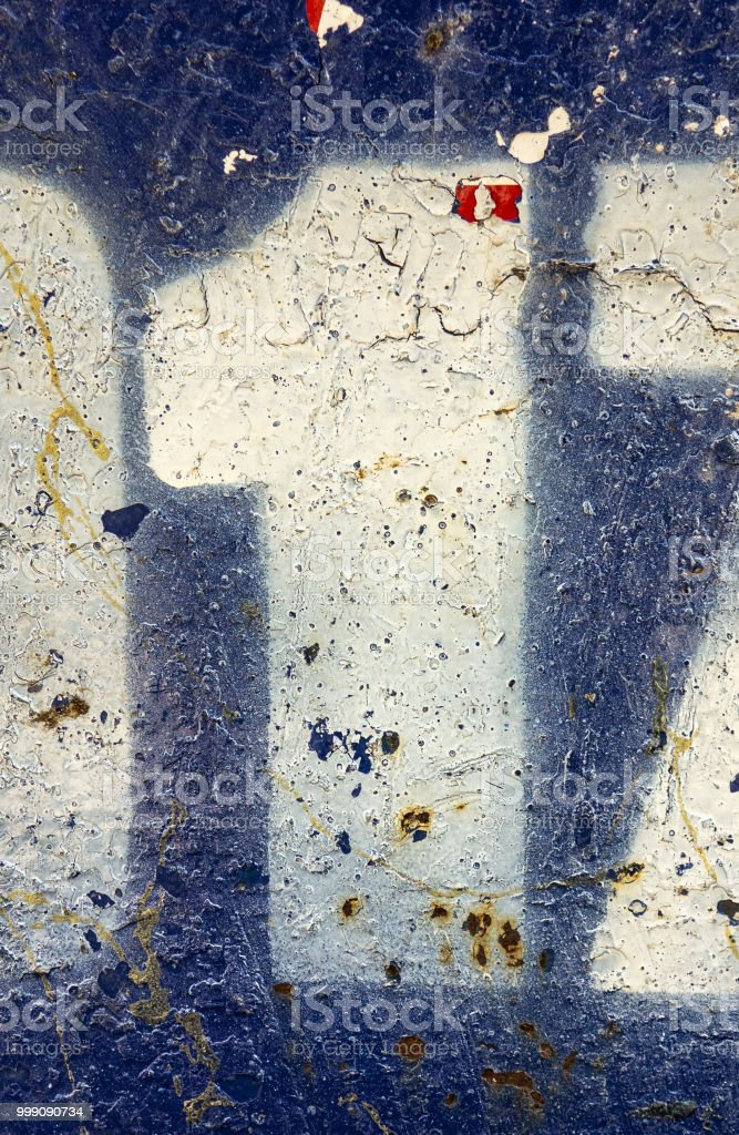 Written Wording in Distressed State Typography Found Number One 1 stock photo