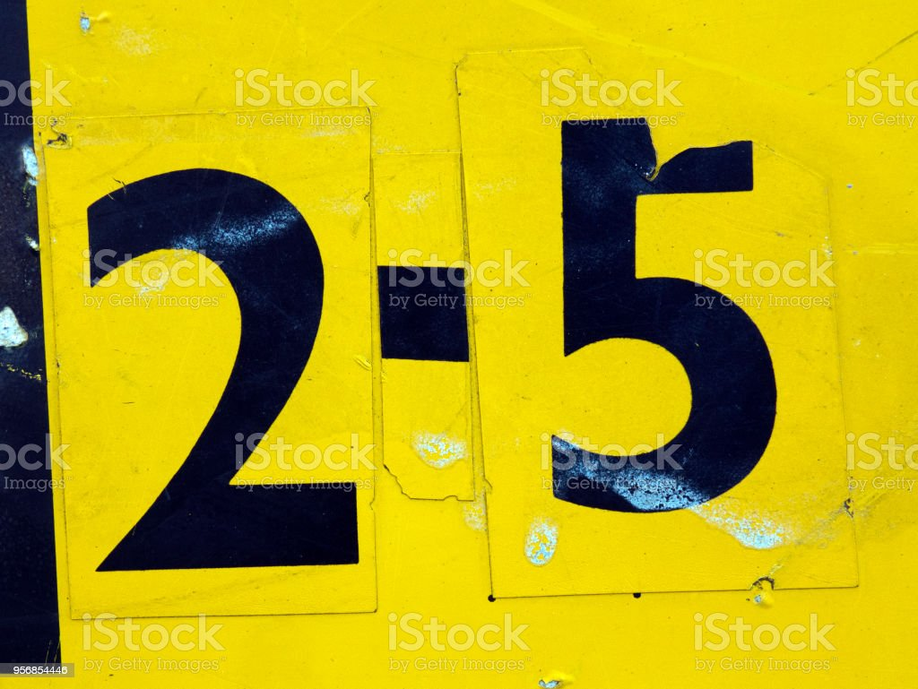 Written Wording in Distressed State Typography Found Number Twenty Five 25 stock photo