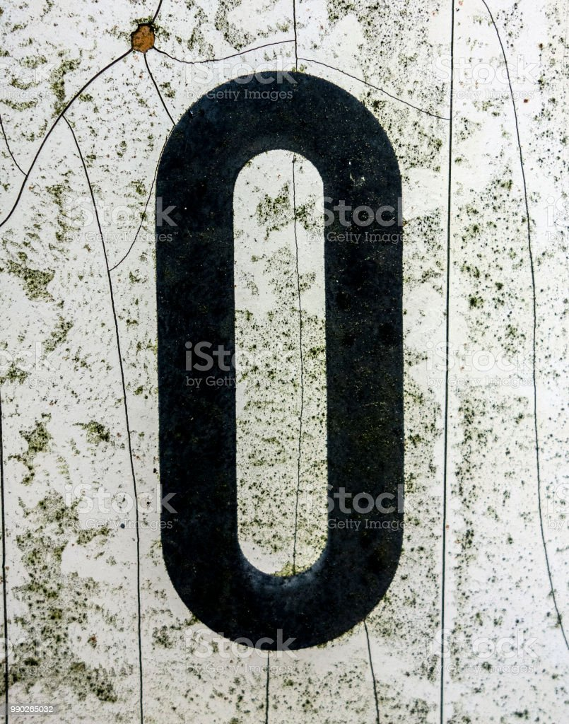Written Wording in Distressed State Typography Found Number Zero, o, 0, stock photo