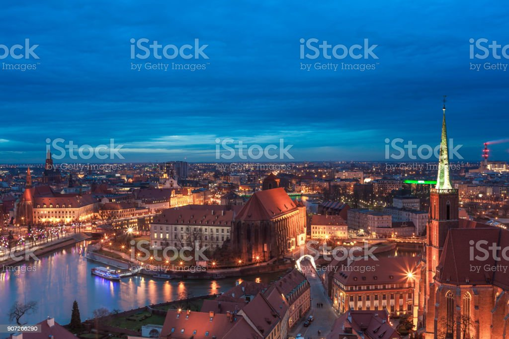 Wroclaw aerial at night stock photo