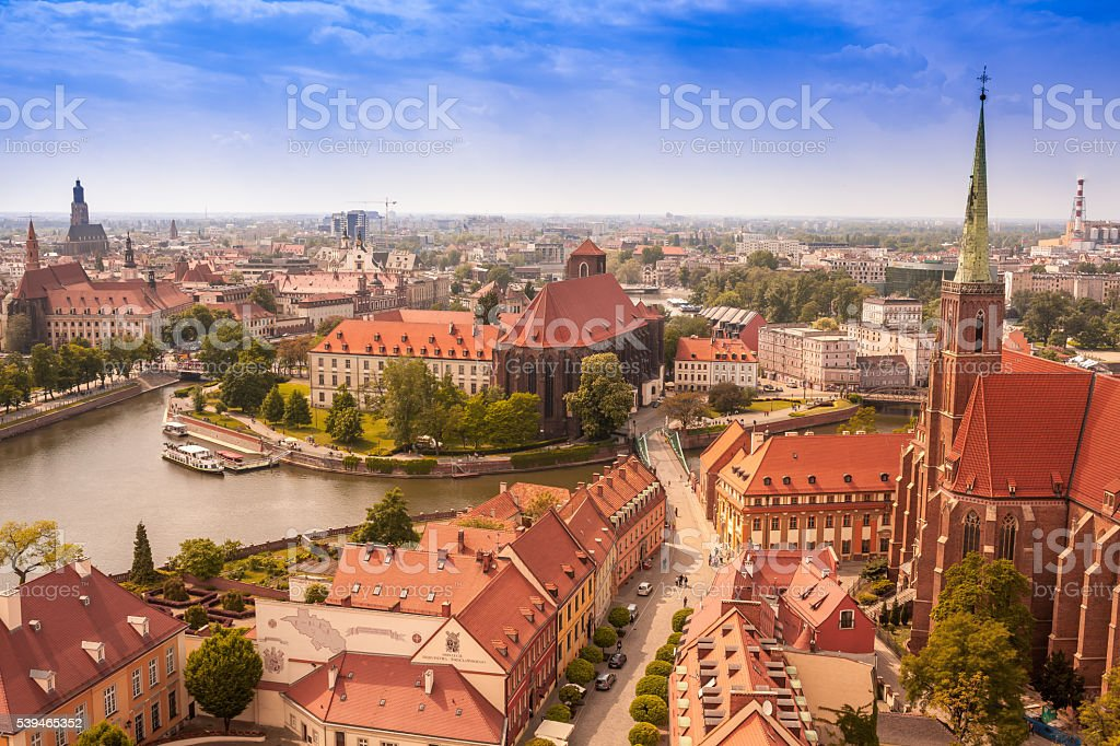 Wroclaw aerial view, old town cityscape stock photo