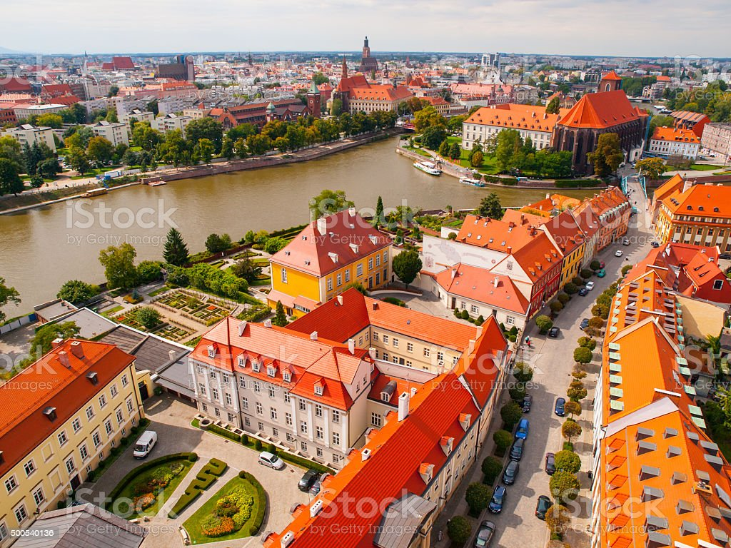 Wroclaw aerial view stock photo
