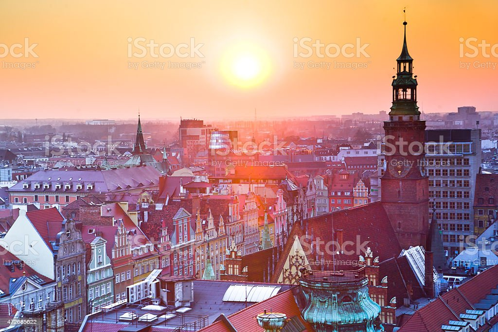 Wroclaw city square, popular travel and meeting destination. stock photo