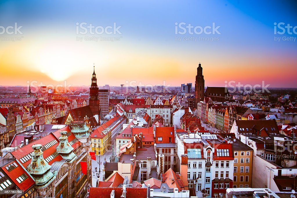 Wroclaw city sunset stock photo
