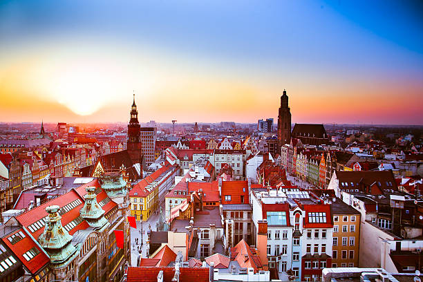 wroclaw city sunset - poland stock photos and pictures