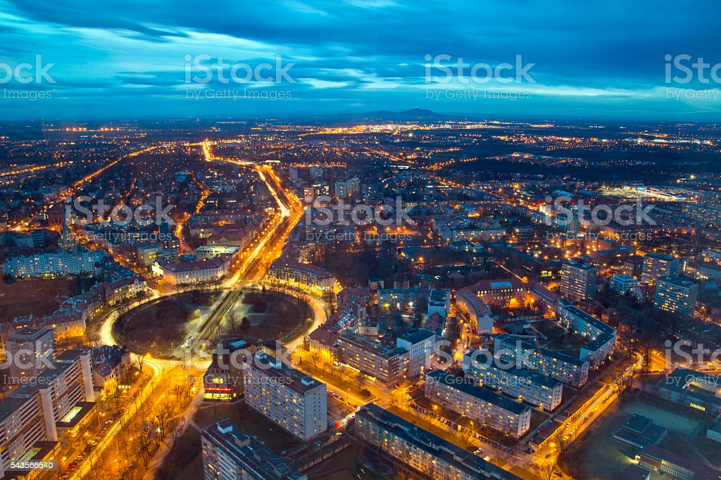 Wroclaw evening panorama of the city stock photo