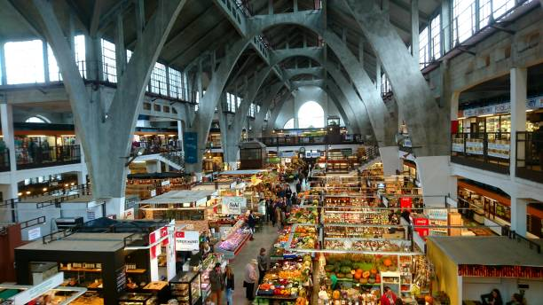 Wroclaw market hall Indoor market hall, Hala Targowa, in Wroclaw, Poland. market hall stock pictures, royalty-free photos & images