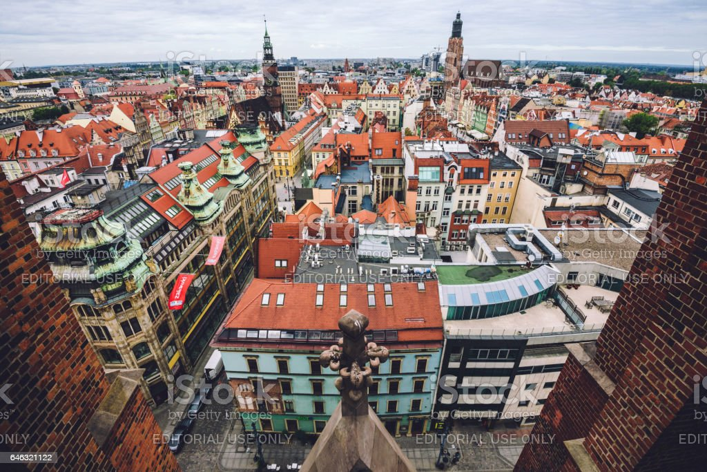 Wroclaw Old town Panorama High View stock photo