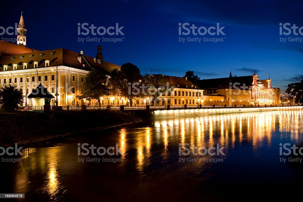 Wroclaw on the water at night with all the lights ok royalty-free stock photo
