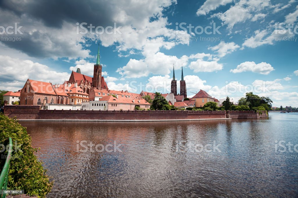 Wroclaw, Poland. Cathedral of St John on Tumski island stock photo