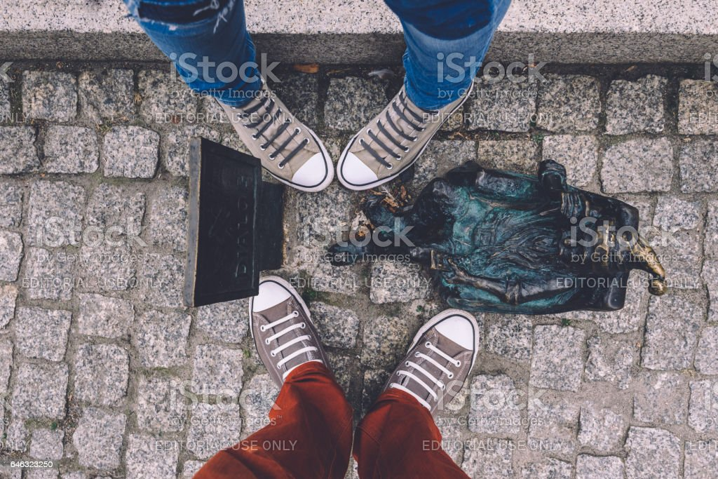 Wroclaw Tv Gnome and Couple of Sneakers stock photo