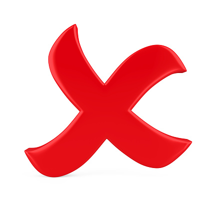 Wrong Cross Symbol Isolated Stock Photo - Download Image Now