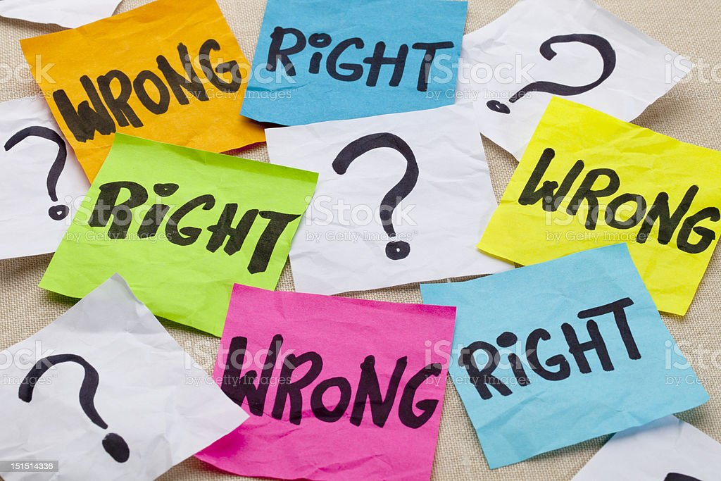 wrong or right ethical question stock photo