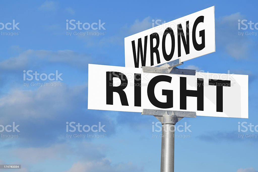 Wrong or Right Street Sign stock photo