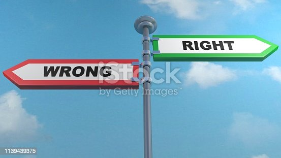 Red and green street arrows with the writes Wrong and Right, pointing to different directions - 3D rendering illustration