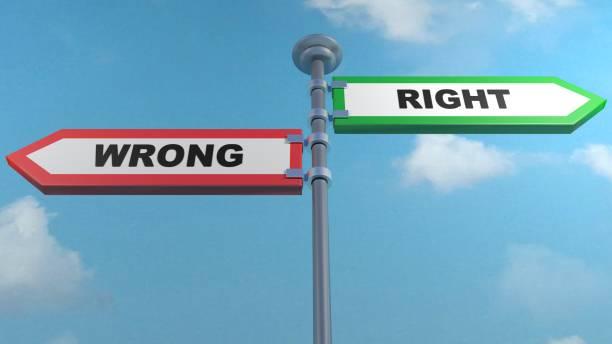 잘못 된-오른쪽 거리 화살표-3d 렌더링 그림 - 악한 뉴스 사진 이미지