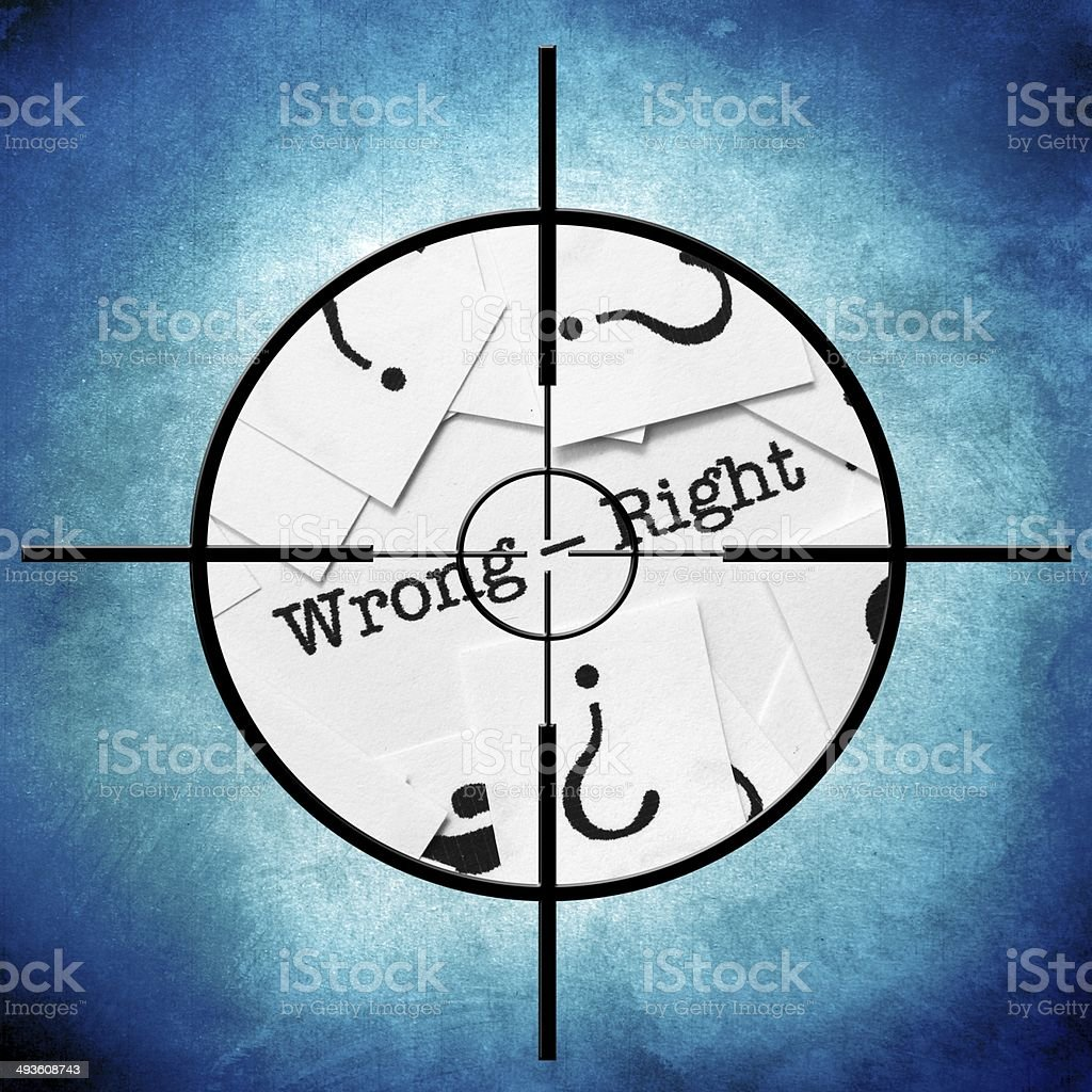 Wrong right target stock photo
