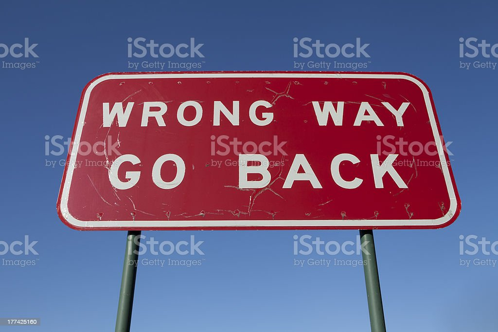 Wrong way go back sign stock photo