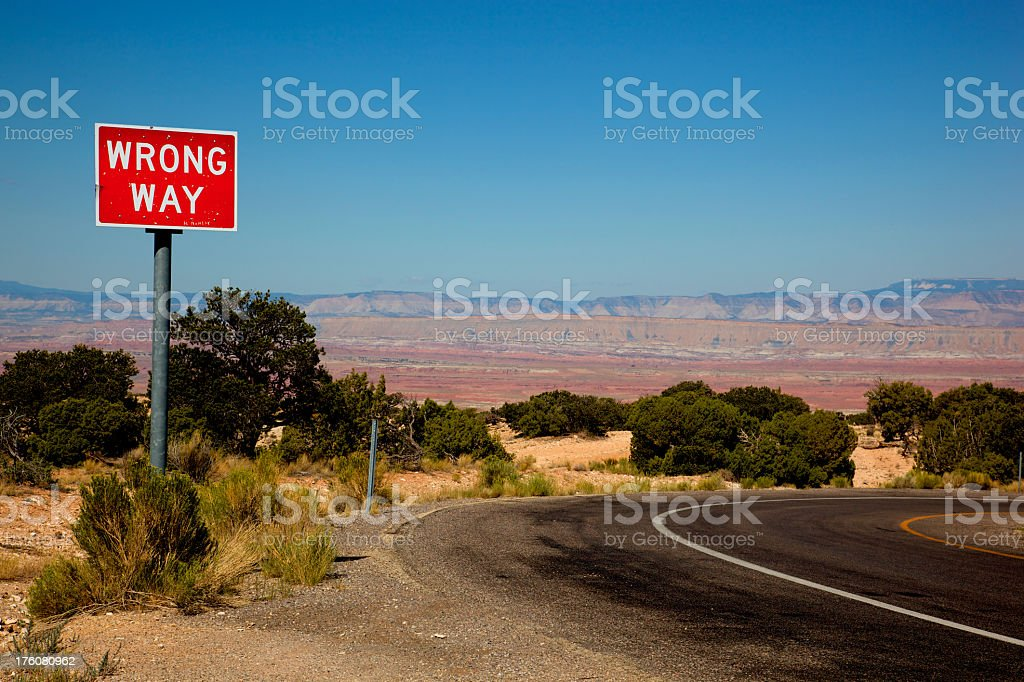 Wrong Way Sign in Desert at Rest Area stock photo