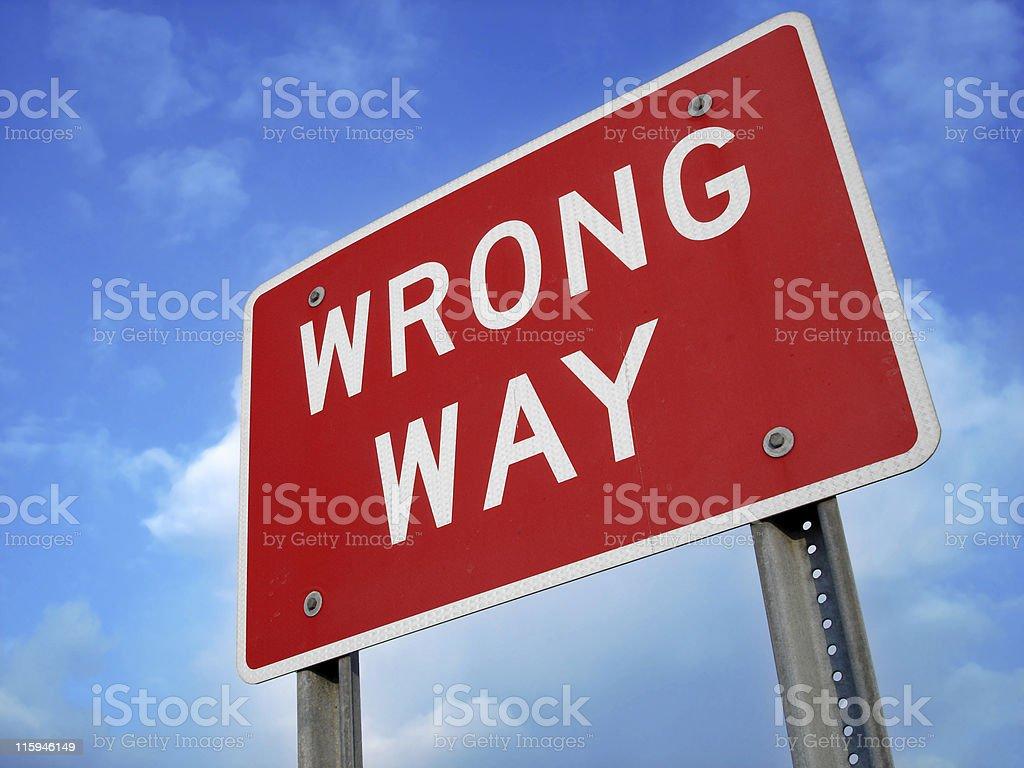 Wrong Way Sign royalty-free stock photo