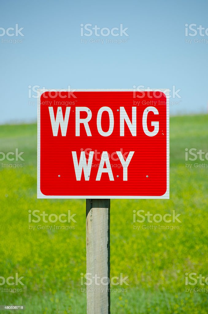 Wrong Way Street Sign stock photo