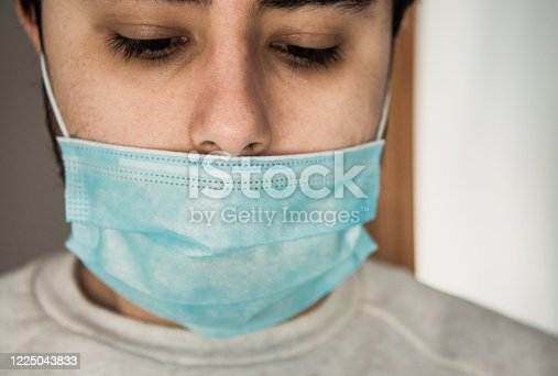 Wrong way to wear a protective face mask - The nose is not covered by the face mask, as it should be.