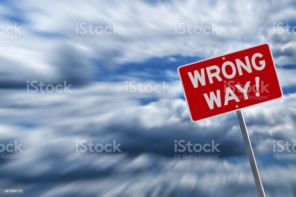 Wrong way warning stock photo
