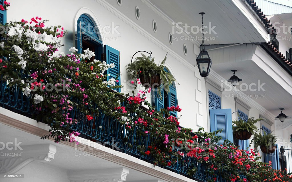 Wrought Iron Balconies with herbage stock photo